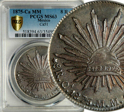 PCGS MS-63 MEXICO CAP AND RAYS SILVER 8 REALES 1875 Ca-MM (CHIHUAHUA) POP: 3/0