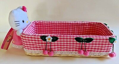 2003 Hello Kitty Wicker Ratta Basket - Rectangle,Material Lined,Plush,Tag