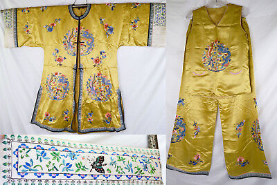 Rare 3 Pc Set Early 20th C Chinese Robe Top Pants Dragon Embroidery Yellow Gold