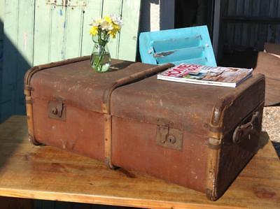 Vintage Steamer Trunk 1930's Chest Toy Box Blanket Box Coffee Table Rustic Chic