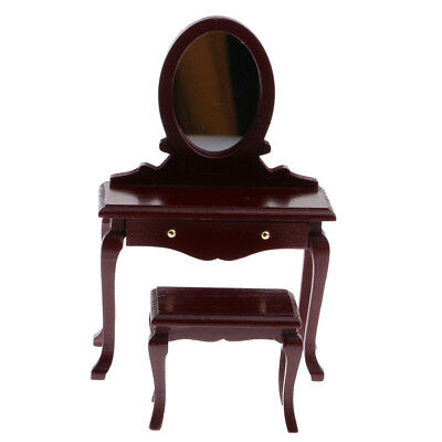 1/12 Dollhouse Miniature Furniture Bedroom Brown Wooden Dressing Table Stool
