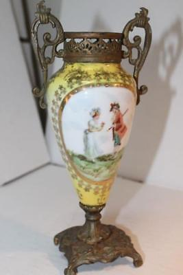 Antique French Sevres Porcelain Ormalu Boudoir Brass Hand Painted Yellow Urn