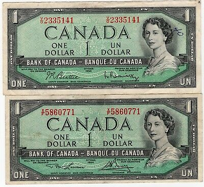 Lot Of 2 1954 Bank Of Canada One 1 Dollar Bank Notes Nice Bills