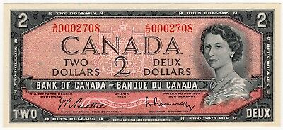 1954 Bank Of Canada Two 2 Dollar Bank Note Au 0002708 Nice Bill Low Serial