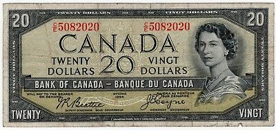 1954 Bank Of Canada Twenty 20 Dollar Devils Face Bank Note Ce 5082020 Nice Bill