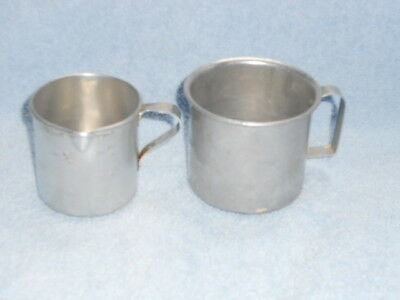 2 Vintage Tin Aluminum Metal measuring cups, 1 cup and 1 1/2 cup w/D handle