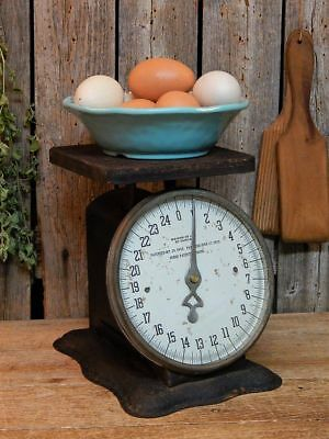 Early 1900's Antique Primitive Old BLACK Kitchen Scale Works! Farmhouse