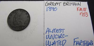 Great Britain 1890 Farthing! Almost Unc! Km# 753! Really Nice Type Coin! Look!