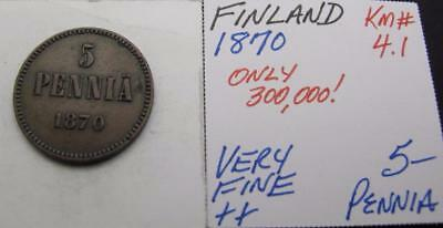 Finland 1870 5-Pennia! Very Fine++! Km# 4.1! Really Nice Type Coin! Look!