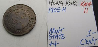 Hong Kong 1905-H 1-Cent! Minty++! Km# 11! Really Nice Type Coin! Look!