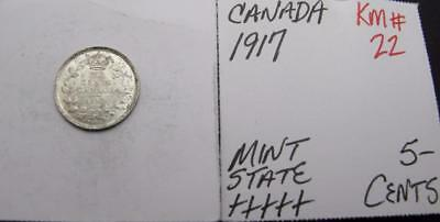 Canada 1917 Silver 5-Cents! Minty+++++! Km#22! Really Nice Type Coin! Look!