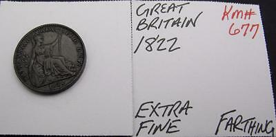 Great Britain 1822 Farthing! Extra Fine! Km# 677! Really Nice Type Coin! Look!