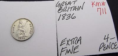 Great Britain 1836 Silver 4-Pence! Extra Fine! Km# 711! Nice Type Coin! Look!