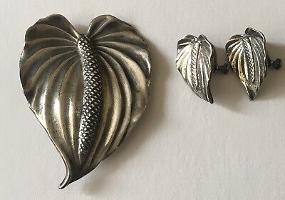 Old Hawaiiana Ming's Anthurium Sterling Silver Brooch & Earrings Signed 🌸