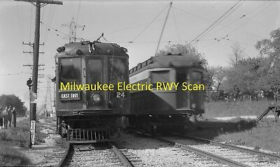 Milwaukee Electric Railway & Light Co Original B&w Trolley Negative Of Two Cars