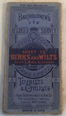 "Collectable Vintage ""Berks & Wilts"" Sheet 29 Reduced Survey Map By Bartholomew's"