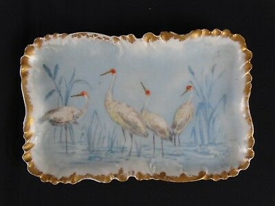 Antique Limoges France Haviland Hand Painted Tray signed by M Cowell c1911