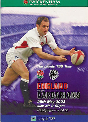 ENGLAND v BARBARIANS 2003 RUGBY PROGRAMME 25 MAY - TWICKENHAM