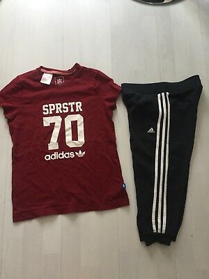 Girls Adidas Cropped Leggings And Adidas T Shirt Age 11-12yrs