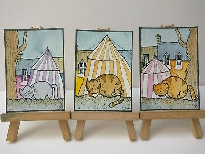3 Original Watercolour Paintings ACEO - Circus Cats