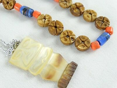 2 Necklaces Inc Mother of Pearl TIKI New Zealand & Art Glass & Seed Necklace