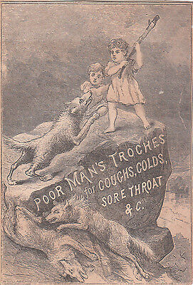 Poor Man's Troches Coughs & ColdsDaniel Bruce Jr Providence RI Wolves c1880s