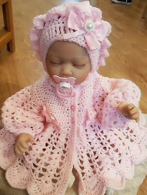Hand Crochet 0-3 Months Baby Girls  Cardigan/ Coat And Bonnet Hat Set