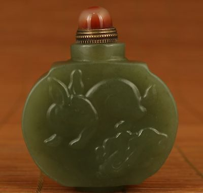 Rare Chinese Old Hetian Jade Hand Carved Rabbit Statue Snuff Bottle