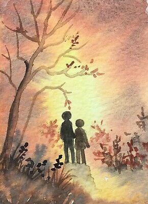 Original Art small ACEO painting watercolour Lovers Walk by Pamela West