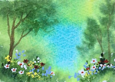 Original Art small ACEO painting watercolour Spring Woodland by Pamela West