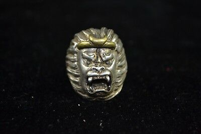 Collectible handwork tibet silver Carve chinese Culture monkey king man Ring