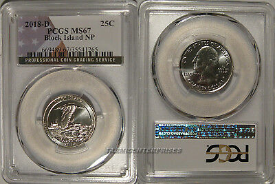 2018 D Block Island NP Quarter 25c PCGS MS67 USA Flag