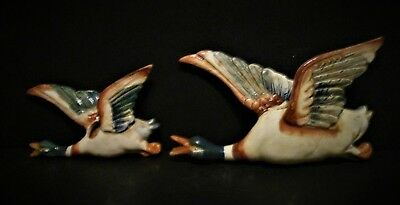 Asian Antiques Mallard Geese Flying Pair Occupied Japan Pottery Wall Pocket Vase