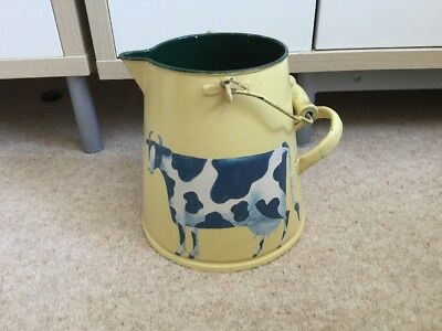 Large Painted Enamel Jug With Wooden Handle & Cow Decoupage - Old Milk Jug