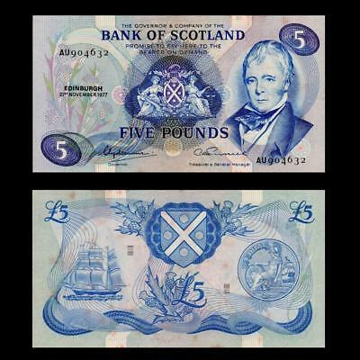 1977 Bank Of Scotland, £5 Large - » Cv $150 « ~Rare~