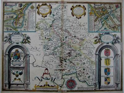 BUCKINGHAMSHIRE BY JOHN SPEED GENUINE MAP PUBLISHED BY GEORGE HUMBLE c1627