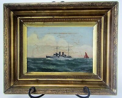 Original Oil on Canvas Painting  Pre-World War I Destroyer by A.Scarisbrick 1905