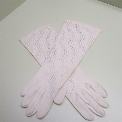 Vintage White With Hand Sewn Beading - Mid Arm Length - Women's Gloves