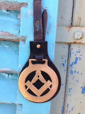 Vintage Masonic Horse Brass Square And Compass Nice Rare Collectable Piece