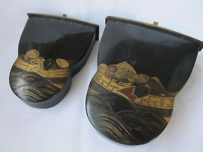 Pair antique Japanese lacquered lacqered box carp on boat