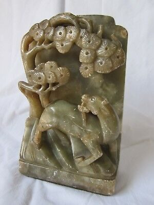 Antique Chinese carved green soapstone figure goat in pine trees AF