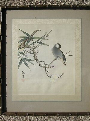 Vintage Chinese painting on silk of bird & blossom by Xie Weifang