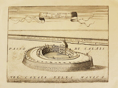 Original engraving of Fort Risban near Dunkirk by Vincenzo Coronelli (1650-1718)