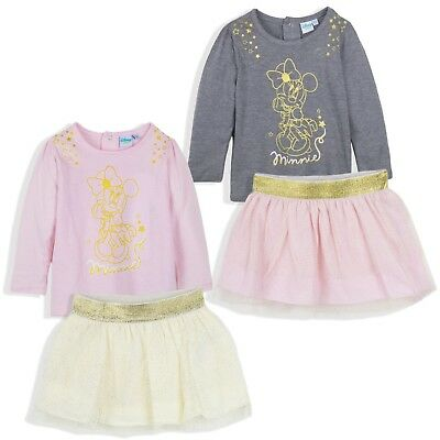 Disney Minnie Mouse Baby Girls Outfit Clothes Set Top Skirt Party Dress 9-36 M
