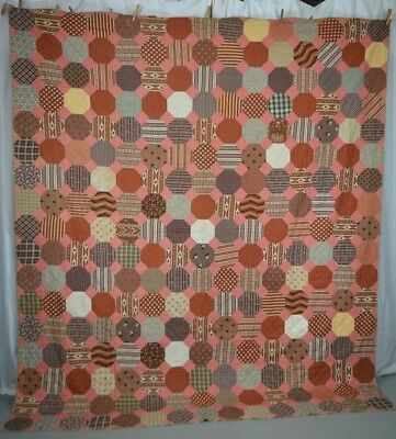 antique quilt Civil War Era brown pink 76 x 86 cotton original very good early