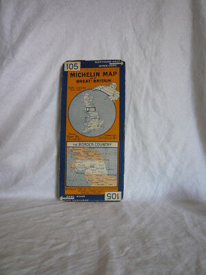 Vintage Michelin Map The Border Country Canvas 105 Gt Britain