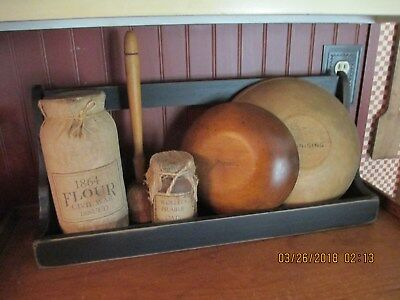 Primitive Wooden Bowl/crock Bin For Wall Or Counter- Made By Hubby