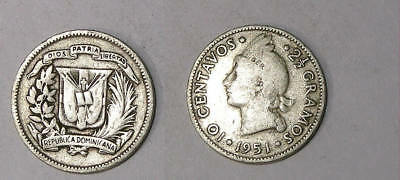 1951 Dominican Rep. 10 Cent Same As Us Dime Inv#337-77