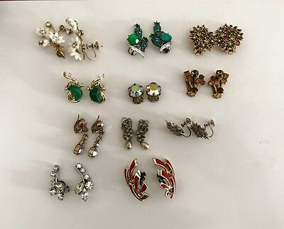 Job Lot Of 11 Pairs Of Vintage Clip On Earrings Incl Coro