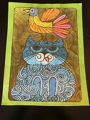 Vintage 1960's Lichtenwalner Kitty Cat & Bird Pop Art Poster Print